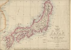 The Empire of Japan with part of the Continent of Asia showing The River Amoor and the New Boundary between The Russian & Chinese Territories'  The map shows the Island of Sakhalin (Saghalien) divided between Russia and Japan, and Outer Manchuria with the 1858 borders between China and Russia, mid way through the Amur (Amoor) Acquisition. In 1855, Russia and Japan had signed the Treaty of Shimoda, which agreed that nationals of both countries could inhabit Sakhalin: Russians in the north… Asia Continent, Empire, Continents, Countries, Maps, Russia, Chinese, River, Island