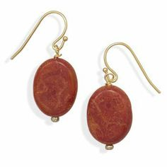 Gold Plated Fashion Earrings with Sponge Coral Drop Silver Castle Jewelry. $8.65. Gold plated base metal fashion french wire earrings with 13mm x 17mm red sponge coral bead drop. This item contains nickel free and lead free base metal.