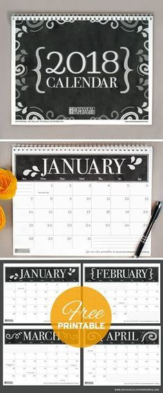 With a sophisticated black and white chalkboard design, this 2018 free printable calendar is perfect for home or office use. See more designs and download your favorite 2018 calendar on our blog!