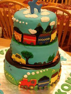 train+and+car+cakes | Trains, Planes & Cars Boy Birthday Cake — Children's Birthday Cakes