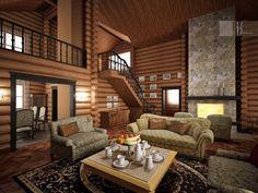 Фото двухэтажного деревянного дома внутри