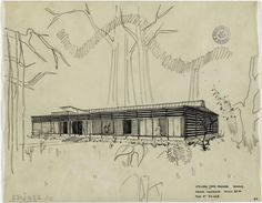 Jean Prouvé | Maison coloniale, 1948-1949 : Etude pour une maison coloniale légère, 10m x 26m | Images d'Art