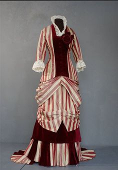 1880 silk taffeta striped dress, reproduction, made for a Living History event 'Der Kaiser kommt'.