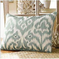 Bamboo Breeze Ikat Embroidered Lumbar Pillow