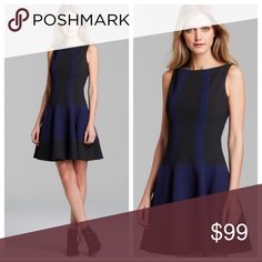 """Nanette Lepore blue black colorblock a-line dress Nanette Lepore """"Going Places"""" Color block skater style dress. Navy and black. Textured knit, boat neck line, sleeveless, hidden back zipper. A-line skirt. Polyester viscose blend with 2% stretch for a great fit. Measure 17.25 inches across the under arms, 34.75 inches total length.Excellent condition! Nanette Lepore Dresses Mini"""