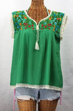 "Siren ""La Marbrisa"" Embroidered Mexican Style Peasant Blouse Top - Green   Fiesta $52.95"