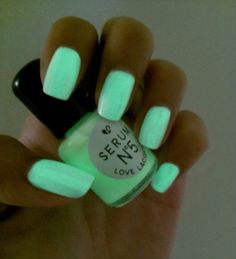 Day Glow Glow in the Dark Nail Polish on Wanelo Dark Nail Polish, Dark Nails, Polish Nails, Mint Nails, Green Nails, Nail Polishes, Cute Nails, Pretty Nails, Sexy Nails