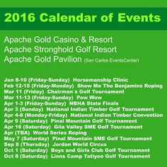 With all of these upcoming events, why not plan to stay at the Apache Gold Resort Hotel for a few days?