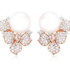Diamond and Pearl 18k Rose Gold Flower Earrings