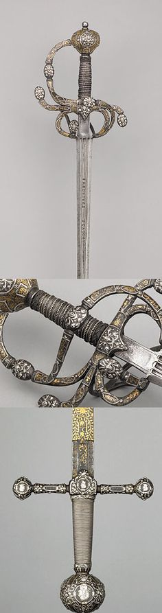A Swept-hilt Rapier, English, c. 1605-15 .  An exceptionally rare example of Jacobean swordsmithing, this beautiful sword was as much a fashion statement as it was a lethal weapon.