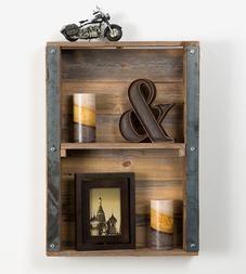Reclaimed Wood & Metal Accent Wall Shelf