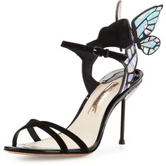 Sophia Webster Chiara Butterfly Wing Ankle-Wrap Sandal ($570) ❤ liked on Polyvore featuring shoes, sandals, black iridescent, winged sandals, open toe sandals, butterfly sandals, black high heel shoes and ankle wrap sandals