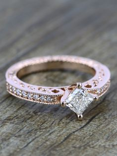 The detail in this Antique Filigree Princess Diamond Engagement Ring in Rose Gold is simply stunning!