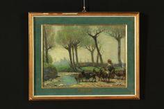 Olio su tela,applicata a cartone. Alcune caprette, guidate da una pastorella, si abbeverano a un ruscello di campagna in mezzo a radi alberi. In cornice con vetro.