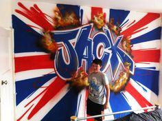 Private commission   Childrens bedroom Graffiti Mural   union jack