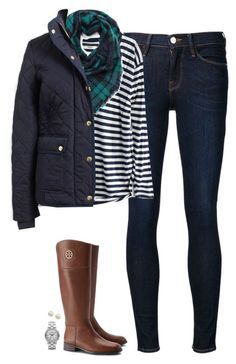 """J.crew quilted jacket, striped tee & plaid scarf"" by steffiestaffie ❤ liked on Polyvore featuring Frame Denim, Madewell, J.Crew, Tory Burch, Marc by Marc Jacobs and Majorica"