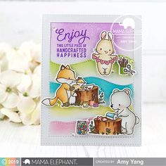 Hello and welcome to the Mama Elephant's October Stamp Highlight Series. Today the design team is featuring the adorable Crafted with Love. Elephant Love, Elephant Design, Mama Elephant Stamps, Scrapbook Quotes, Love Stamps, Clear Stamps, Square Card, My Face Book, My Stamp