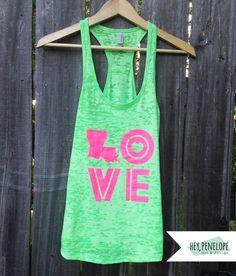 Throwback LOVE Ladies Tank in Neon Green