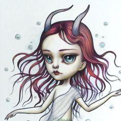 Capricorn Zodiac Girl signed 8x10 pop surrealism by mabgraves