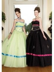 Tulle Softly Curved Neckline Embroidered Bodice Quince Dress