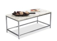 Alster/B Coffee & Centre Table from Durian has marble top table embellished with chrome accents, this is a classic example of modern minimalism with the use of gorgeous white marble.