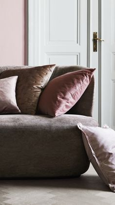 Add an instant-luxe vibe to your space with velvet details. Easiest way to embrace the trend? Lush cushions.   H&M Home