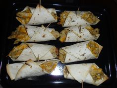 Mini Chicken, rice and cheese baked tortilla rolls. Rub top side of tortilla with water, sprinkle with salt. Bake @ 400 degrees 10-15 mins. Serve and Enjoy!