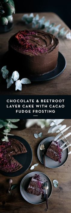 Chocolate & Beetroot Layer Cake with Cacao Fudge Frosting | Gather & Feast More