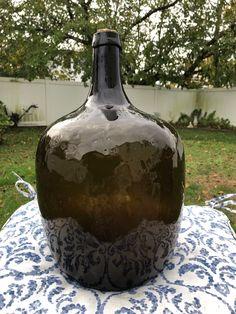 Century Pontil Dark Olive Green Demijohn Bottle Tall About Antique Bottles, Old Bottles, Vintage Bottles, Planters Peanuts, Colonial, Olive Green, Jars, 19th Century, Period