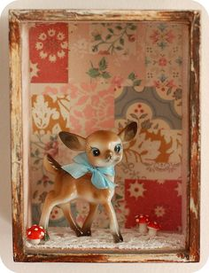 Do my shadow box with mini bear and cigar box and? 'bambi' shadow box from a quieter storm Bambi, Retro Christmas, Christmas Crafts, Christmas Decorations, Xmas, Christmas Things, Vintage Wallpaper, Creation Deco, Oh Deer