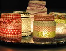 Potes reciclados para fazer luminárias com vela