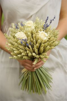 Cream rose and lavender wheat sheaf from £14