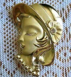Vintage MATTE GOLDTONE 40's Depression LADY IN BONNET Profile FACE BROOCH PIN
