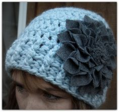 So cute...Light Aqua Blue with Grey Flower Kufi Hat by LoveDesignsBoutique