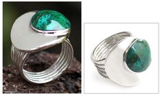 Hand Made Fine Silver Domed Chrysocolla Ring - World of Green | NOVICA