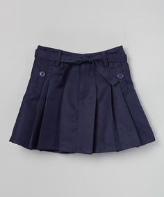 Loving this Navy Belted Pleated Skirt - Girls on #zulily! #zulilyfinds