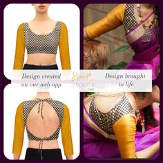 Design to reality- A mustard sleeve and black brocade combo U neck blouse.  Design you own now on houseofblouse.com #saree #blouse #sareeblouse #blousedesigns #desi #indianfashion #india #Uneck #brocade #sexyback