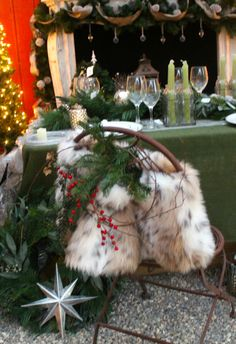 luxury christmas chair covers menards patio 8 best rocking coverr images on pinterest crafts decorations tables capes embellish your rustic chairs with fur