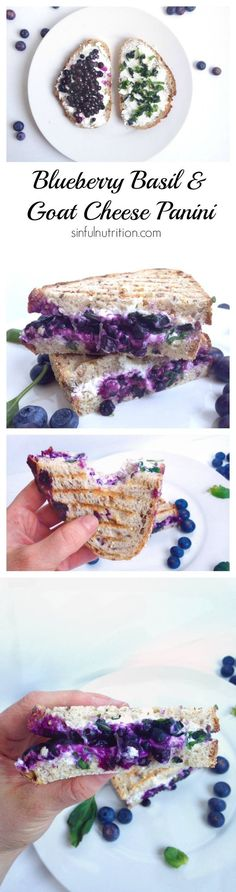 Blueberry Basil & Goat Cheese Panini Sandwich Healthy Recipes For Weight Loss, Healthy Meals For Kids, Easy Healthy Recipes, Kids Meals, Healthy Eating, Food Signs, Stay Gold, Vegetarian Dinners, Sandwich Recipes