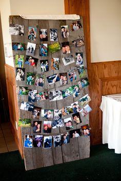 "love this ""rustic"" looking photo board idea! #WeddingPhotographyMN"