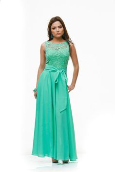 Wedding Aqua Mint Maxi Dress,Formal Chiffon Lace Dress Bridesmaid.