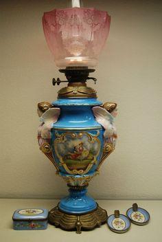 ANTIQUE OLD SEVRES FRENCH PORCELAIN FIGURAL LAMP OIL KEROSENE CIGARETTE SET  #VICTORIAN #SEVRES