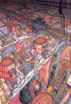 "Strange and twisted illustrations by Japanese Shintaro Kago, the great and tortured mangaka precursor of the ""fashionable paranoia"". Surreal illustrations in w Satire, Ero Guro, Arte Cyberpunk, Arte Obscura, Arte Horror, Surreal Art, Surreal Photos, Monster, Anime Style"