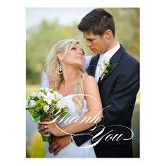 WHITE SCRIPT WEDDING THANK YOU PHOTO POSTCARD
