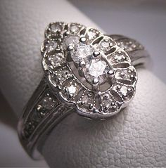 Antique Diamond Wedding Ring Vintage 14K White Gold, $1450.00