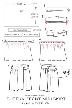 How to make a midi button down skirt Midi & Maxi Dresses Try this easy DIY to make your Sewing Patterns TipsWhat About Amazing Easy Sewing Projects ?Discover recipes, home ideas, style inspiration and other ideas to try.Easy 50 Sewing projects are av Skirt Patterns Sewing, Clothing Patterns, Skirt Sewing, Womens Skirt Pattern, Coat Patterns, Blouse Patterns, Girls Skirt Patterns, Skirt Pattern Free, Diy Clothing