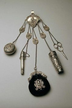 Russian silver sewing chatelaine, ca 1840
