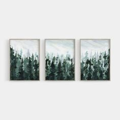 Wall Art Sets, Wall Art Prints, Pine Trees Forest, Landscape Paintings, Abstract Paintings, Green Paintings, Mountain Decor, Tree Line, Woodland Nursery Decor