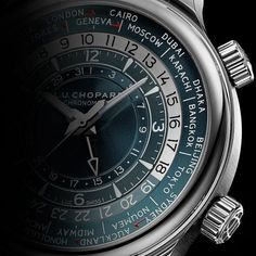 The Chopard L.U.C Time Traveler One platinum case version, stands out with a blue-gray dial color, with only the half-circle for the daytime hours in contrasting silver tone. More @ http://www.watchtime.com/wristwatch-industry-news/watches/gentleman-travelers-chopards-new-l-u-c-gmt-one-and-time-traveler-one/ #chopard #watchtime #watchnerd #menswatches