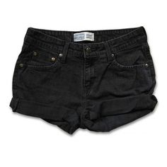 Vintage 90s Levi's Black Gray Colored Dark Wash Mid-High Waisted Rise... ($32) ❤ liked on Polyvore featuring shorts, bottoms, clothing - shorts, cutoff shorts, cut-off jean shorts, high-waisted cut-off shorts, high-waisted cutoff shorts and denim shorts